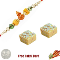 1 Rakhi with Badam Burfi and a Free Silver Coin