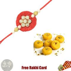 1 Rakhi with Kesar Peda and a Free Silver Coin