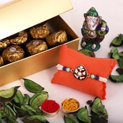 Etched Stone Rakhi & 12pc Ferrero