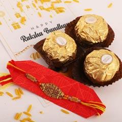 One Rakhi & 3pc Ferrero Rocher