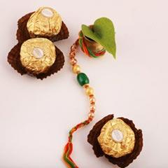 Elegant Beaded Rakhi & 3pc Ferrero