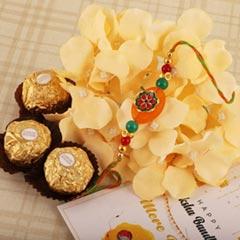 Floral Pebble Rakhi & 3pc FR