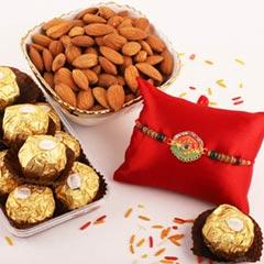 Dual Color Rakhi, Almond, 12pc Ferrero Rocher