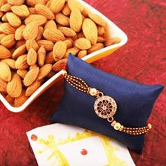Stone Studded Rakhi and Almond - Send Rakhi to Canada