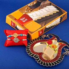 Kaju Katli with Two Elegant Rakhi - Send Rakhi to Toronto