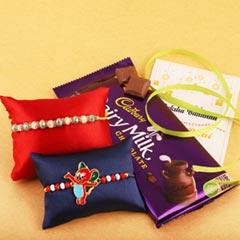 Cheerful Rakhi Set with Cadbury