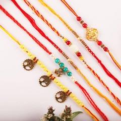 Multicolour Set of 6 Rakhis - Send Rakhi to Toronto