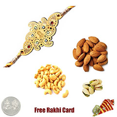 24 Ct. Gold Plated Rakhi with 225 Grams Mixed Dryfruits and Free Silver Coin