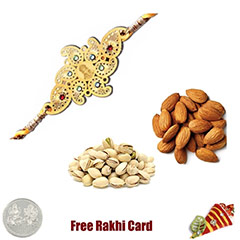 24 Ct. Gold Plated Rakhi with 225 Grams Almonds and Pistachios and Free Silver Coin