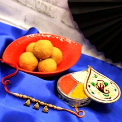 Hand Crafted Rakhi  with Besan Laddoo
