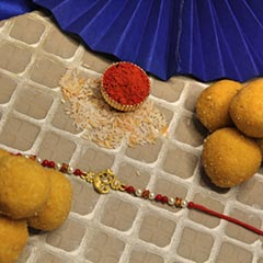 Ganesha Rakhi with Beasn Laddoo