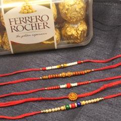5 Rakhi set with Ferrero - Send Rakhi to Chicago