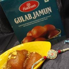 Designer Rakhi with Gulab Jamun - Send Rakhi to USA