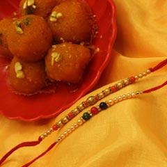 2 Divine Rakhi with Motichoor Laddo - Send Rakhi to Chicago
