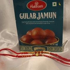 2 Divine Rakhi with Gulab Jamun - Send Rakhi to Chicago