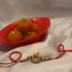 Motichoor Laddo with Ganesha Rakhi