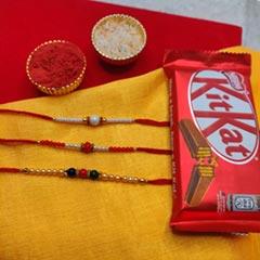 3 Rakhi in Set with Kitkat - Send Rakhi to Chicago