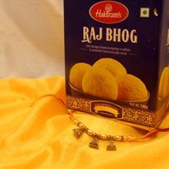 Beautiful Rakhi with Raj Bhog