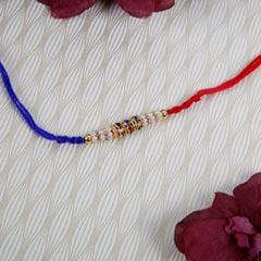 Blue Red Combination Designer Rakhi - For Europe