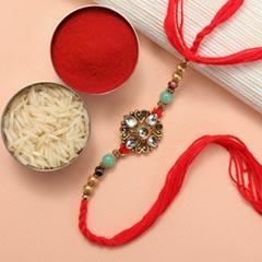 Elegant Kundan Diamond Beads Rakhi - For Europe - Send Rakhi to Germany