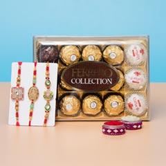 Three Lucky Rakhi Set with Ferrero Rocher Chocolate - For Europe - Send Rakhi to Germany