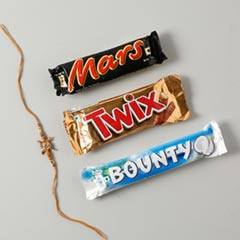 Fancy Rakhi With Chocolate Bars - For Europe