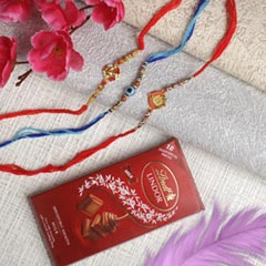 Family Rakhi Set With Lindt Chocolate Bar - For Europe