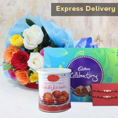 Jamuni Delight - Rakhi with Flowers