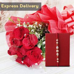 Rakhi with Roses - Rakhi with Flowers