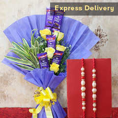 Sweet N Chocolaty Delight - Rakhi with Flowers
