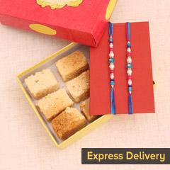 Set of 2 Rakhi with Milk Cake