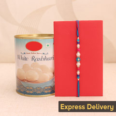 Alluring Rakhi with Ras Bhari - Rakhi with Rasgulla