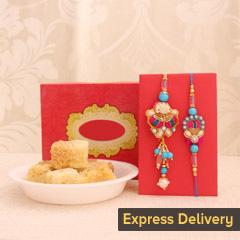 Gorgeous one bhaiya bhabhi rakhi with Milk Cake - Send Lumba Rakhi Online