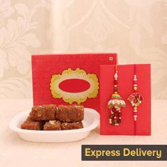 Token of Affection for Bhaiya Bhabhi - Rakhi with Barfi