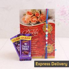 Delightful Dairy milk and Rakhi gift combo