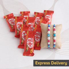 Designer Rakhi with KitKat gift hamper