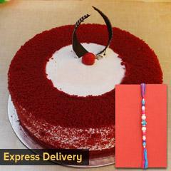 Lovely Rakhi and cake combo - Rakhi with Cake
