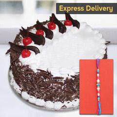 Rakhi with tasty cake - Rakhi with Cake