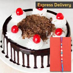 Auspicious Rakhi and tasty cake - Rakhi with Cake