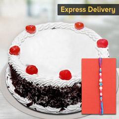 Delicious Cake with Rakhi - Rakhi with Cake