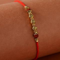 Rajasthani Style Golden Beads  Rakhi - Send Rakhi to New Zealand