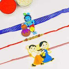 Rudraksh & Kids Cartoon 3 Rakhi Set