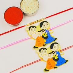 Pearl & Cute Kids Cartoon 3 Rakhi Set