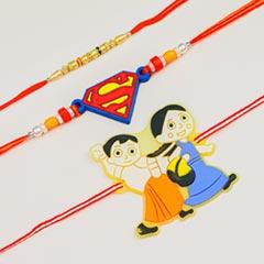 Pearl & Kids Cartoon 3 Rakhi Set