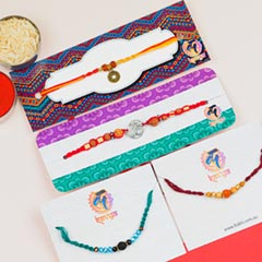 Beautiful Om, Rudraksha & Beads Combo Of 4 Rakhis