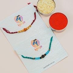 Gemstones & Beads Pair of 2 Rakhis