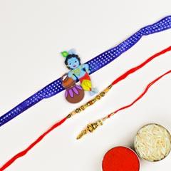 Designer Bhaiya Bhabhi & Kids Cartoon 3 Rakhi Set