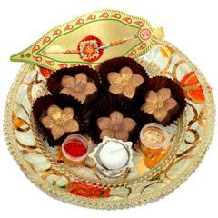 Small Raksha Bandhan Tray With Golden Flowers