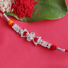 Designer Stone-Studded Silver Rakhi