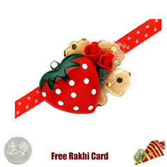 Red Heart Rakhi with a Free Silver Coin